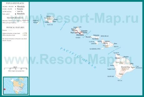 Карта Гавайских островов