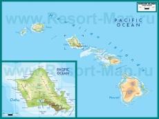 Подробная карта Гавайев
