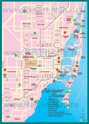 Карта Майами с достопримечатеьностями