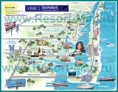 Туристическая карта Майами с отелями