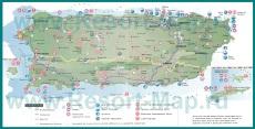 Туристическая карта Пуэрто-Рико с достопримечательностями