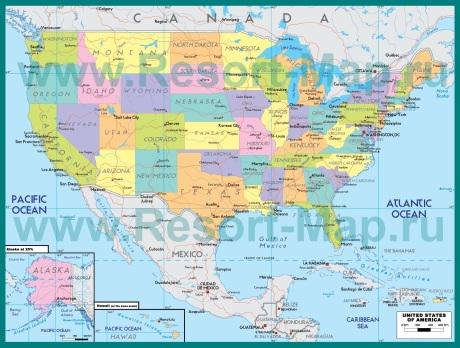 Курорты США на карте