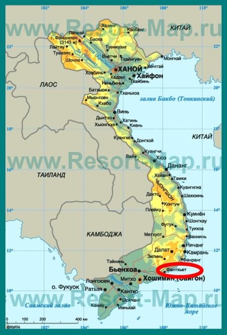 Фантьет на карте Вьетнама