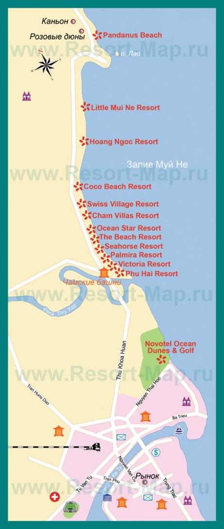 Туристическая карта Фантьета на русском языке