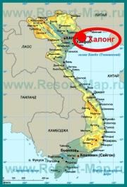Бухта Халонг на карте Вьетнама