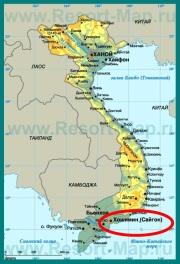 Хошимин на карте Вьетнама
