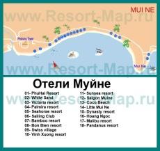 Карта отелей Муйне