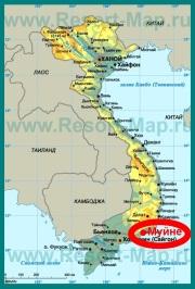 Муйне на карте Вьетнама