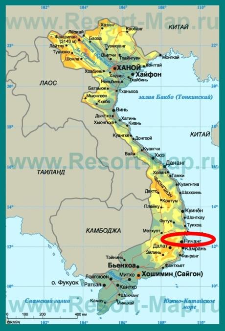 Нячанг на карте Вьетнама