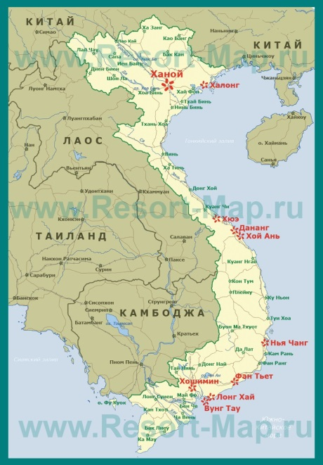 Курорты Вьетнама на карте